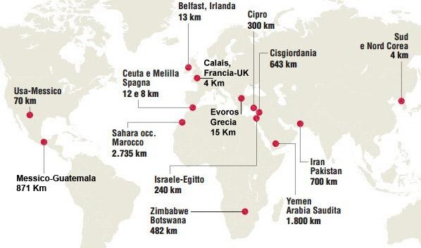Mappa Muri anticlandestini Europa e Mondo